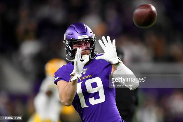 Wide receiver Adam Thielen of the Minnesota Vikings warms up before the game against the Green Bay Packers at U.S. Bank Stadium on December 23, 2019...