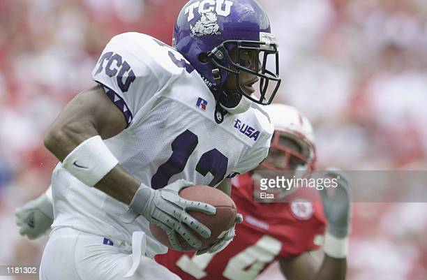 Wide receiver Adrian Madise of the Texas Christian University Horned Frogs runs with the ball during the NCAA football game against the Nebraska...