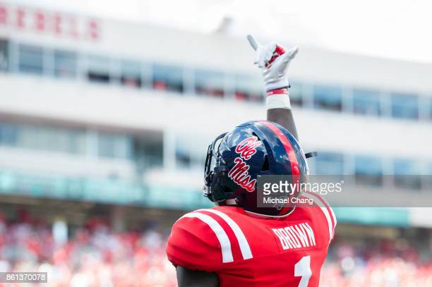 Wide receiver AJ Brown of the Mississippi Rebels celebrates after scoring a touchdown during their game against the Vanderbilt Commodores at...