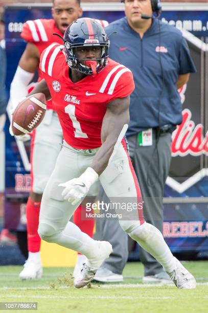Wide receiver AJ Brown of the Mississippi Rebels during their game against the Auburn Tigers at VaughtHemingway Stadium on October 20 2018 in Oxford...