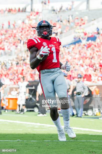 Wide receiver AJ Brown of the Mississippi Rebels during their game against the Vanderbilt Commodores at VaughtHemingway Stadium on October 14 2017 in...