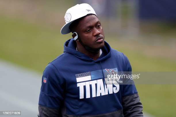 Wide receiver A.J. Brown of the Tennessee Titans up prior to the game against the Tennessee Titans at Nissan Stadium on December 20, 2020 in...