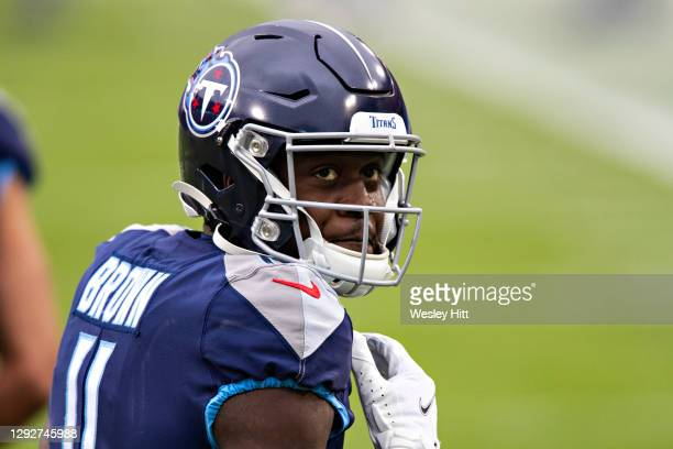 Wide receiver A.J. Brown of the Tennessee Titans warms up before a game against the Detroit Lions at Nissan Stadium on December 20, 2020 in...