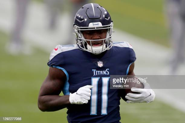Wide receiver A.J. Brown of the Tennessee Titans warms up prior to the game against Detroit Lions at Nissan Stadium on December 20, 2020 in...
