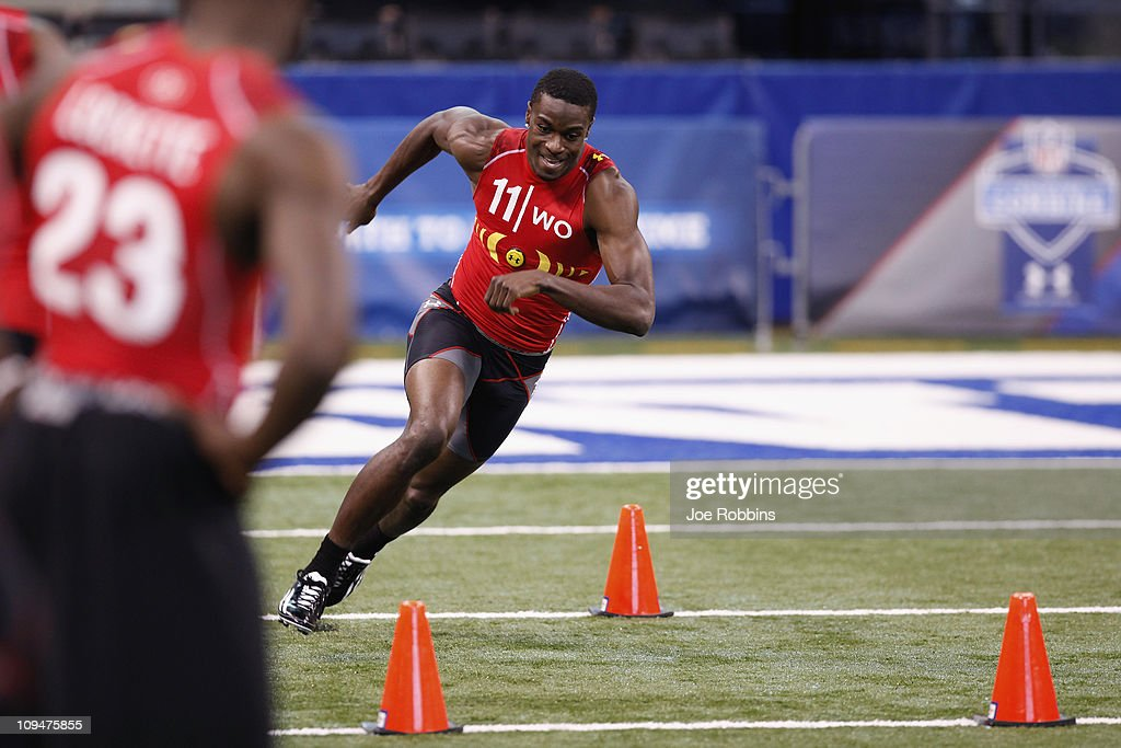 Wide receiver A.J. Green of Georgia runs through a drill during the 2011 NFL Scouting Combine at Lucas Oil Stadium on February 27, 2011 in Indianapolis, Indiana.