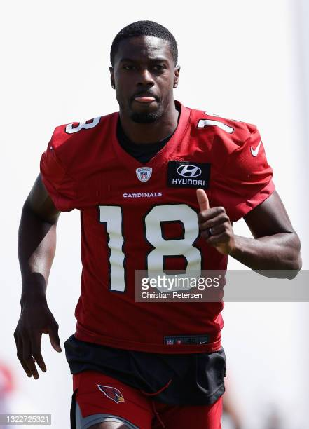 Wide receiver A.J. Green of the Arizona Cardinals participates in an off-season workout at Dignity Health Arizona Cardinals Training Center on June...