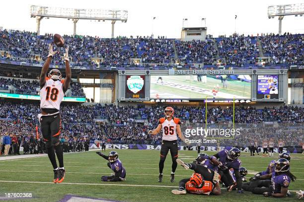 Wide receiver AJ Green of the Cincinnati Bengals catches a batted ball for a touchdown against the Baltimore Ravens in the fourth quarter at MT Bank...