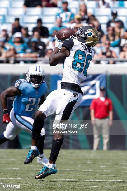 Wide Receiver Allen Hurns of the Jacksonville Jaguars makes a catch over Strong Safety Da'Norris Searcy of the Tennessee Titans at EverBank Field on...