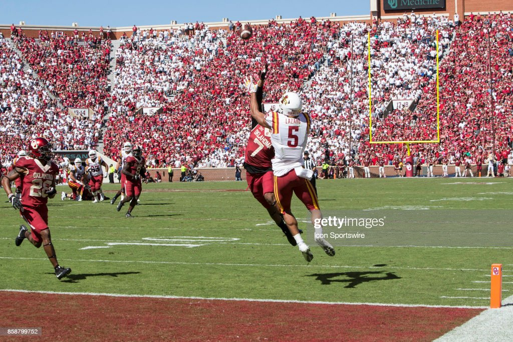 Wide receiver Allen Lazard (5) of the Iowa State Cyclones goes up for the game winning catch during the game between the Oklahoma Sooners and the Iowa State Cyclones on October 7, 2017, at Memorial Stadium Norman, OK.