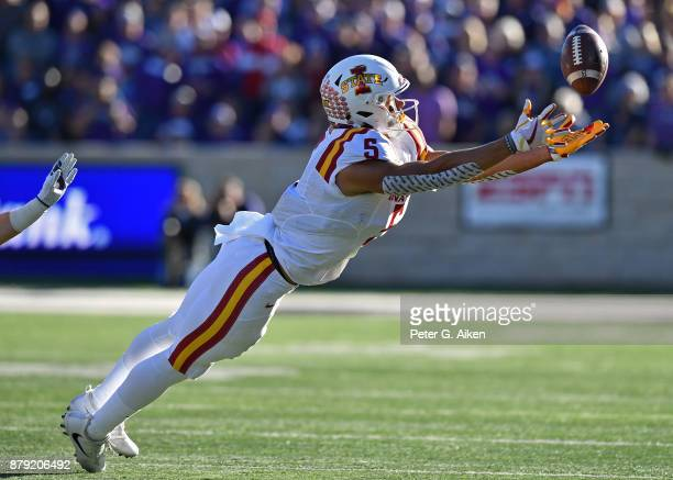 Wide receiver Allen Lezard of the Iowa State Cyclones dives for a pass against the Kansas State Wildcats during the first half on November 25 2017 at...