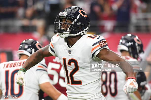 Wide receiver Allen Robinson of the Chicago Bears celebrates a scored touchdown against the Arizona Cardinals in the second half of the NFL game at...