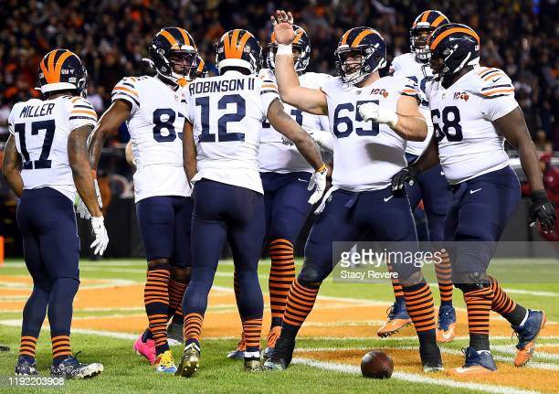 Wide receiver Allen Robinson of the Chicago Bears celebrates his touchdown with teammates in the second quarter of the game against the Dallas...