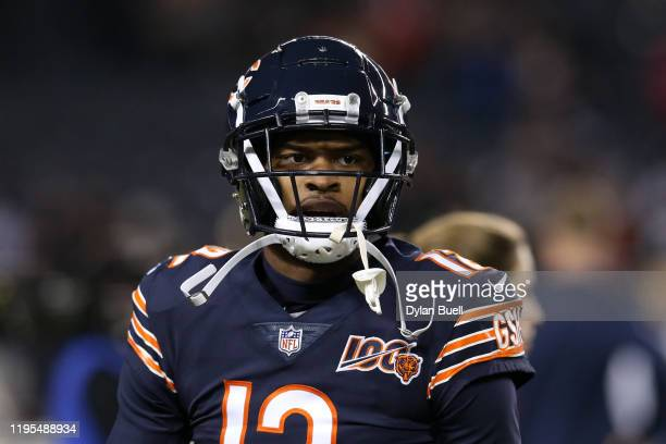 Wide receiver Allen Robinson of the Chicago Bears looks on before playing the Kansas City Chiefs in the game at Soldier Field on December 22, 2019 in...