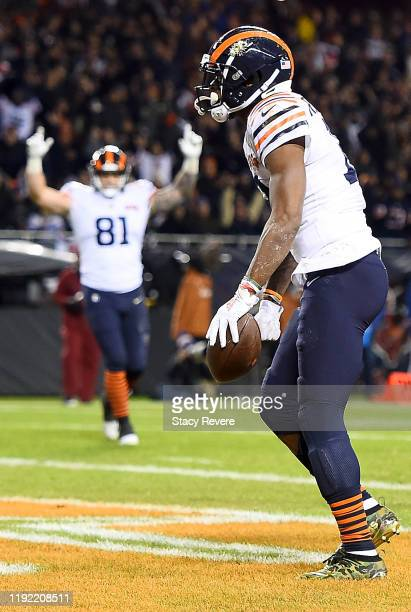 Wide receiver Allen Robinson of the Chicago Bears scores a touchdown over the defense of the Dallas Cowboys in the second quarter of the game against...