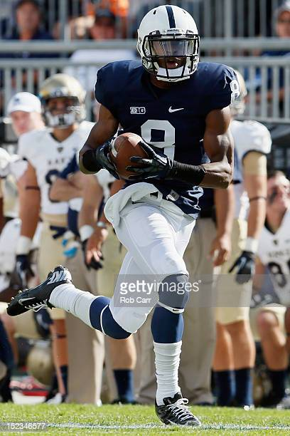 Wide receiver Allen Robinson of the Penn State Nittany Lions runs for a touchdown after catching a pass during the first quarter against the Navy...