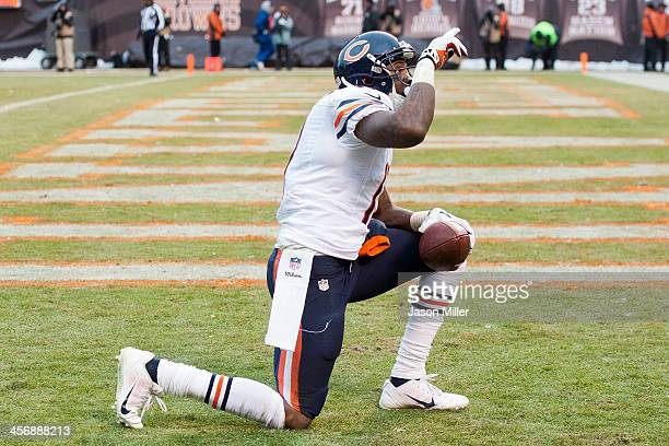 Wide receiver Alshon Jeffery of the Chicago Bears celebrates after scoring a touchdown during the second half against the Cleveland Browns at...