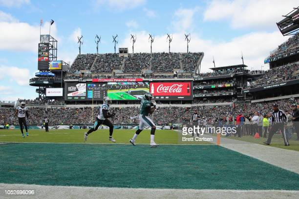 Wide receiver Alshon Jeffery of the Philadelphia Eagles scores a touchdown against the cornerback James Bradberry Carolina Panthers during the second...