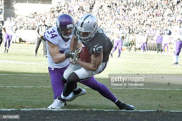 Wide receiver Andre Holmes of the Oakland Raiders scores a touchdown over strong safety Andrew Sendejo of the Minnesota Vikings in the second quarter...