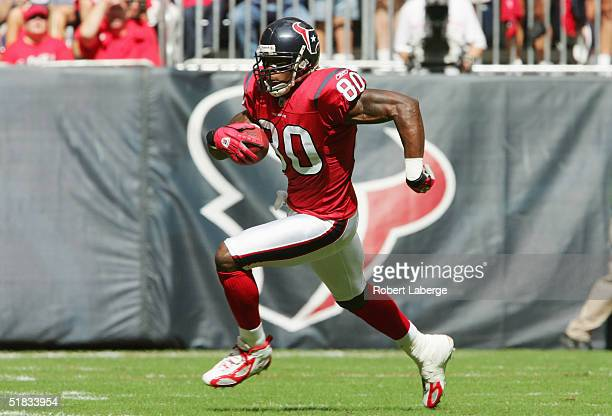 Wide receiver Andre Johnson of the Houston Texans runs upfield against the Jacksonville Jaguars during the game on October 31 2004 at Reliant Stadium...