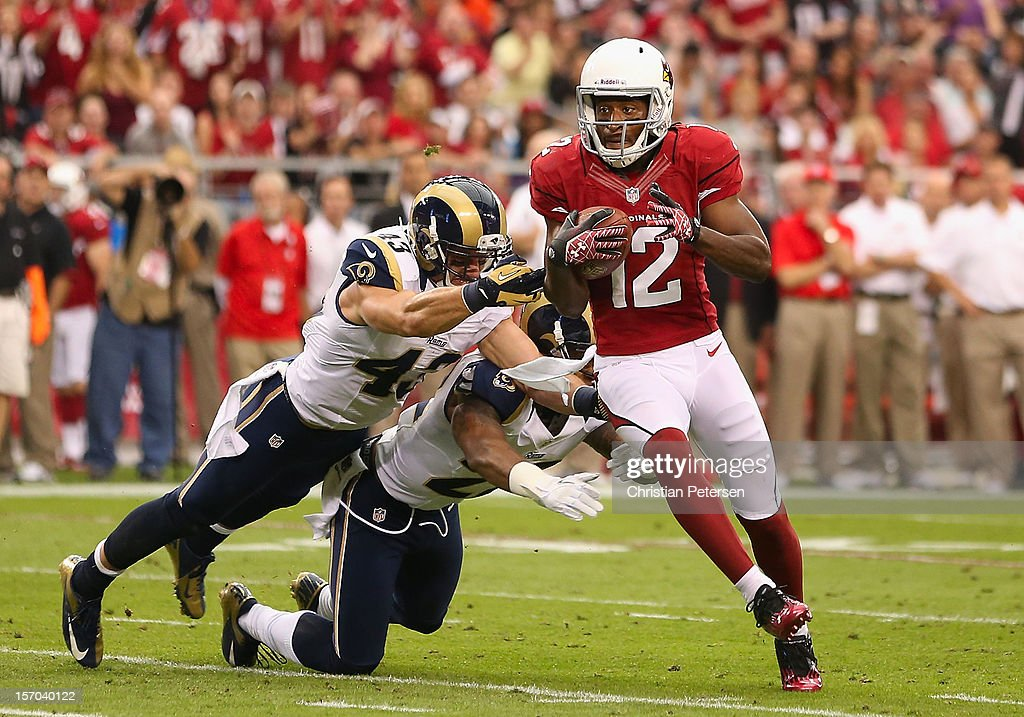 wide receiver Andre Roberts #12 of the Arizona Cardinals runs with the football after a reception against the St. Louis Rams during the NFL game at the University of Phoenix Stadium on November 25, 2012 in Glendale, Arizona.