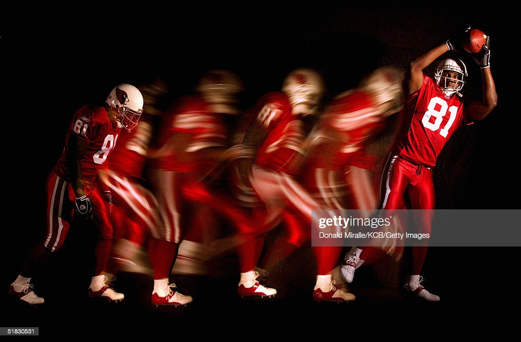 Wide Receiver Anquan Boldin #81 of the Arizona Cardinals poses during a portrait session at Cardinals Training Facility on November 30, 2004 in Tempe, Arizona.