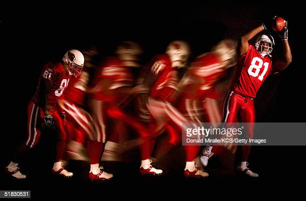 Wide Receiver Anquan Boldin of the Arizona Cardinals poses during a portrait session at Cardinals Training Facility on November 30 2004 in Tempe...