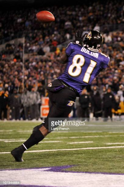 Wide receiver Anquan Boldin of the Baltimore Ravens catches a pass to score a touchdown against the Pittsburgh Steelers during the first quarter of...