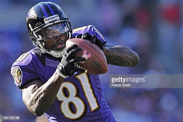 Wide receiver Anquan Boldin of the Baltimore Ravens pulls in a catch in the third quarter against the Dallas Cowboys at M&T Bank Stadium on October...