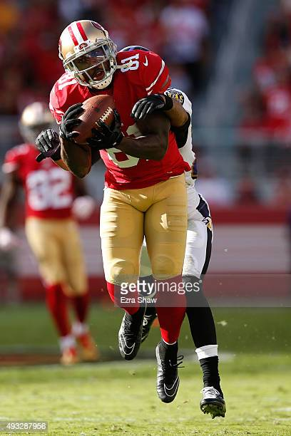Wide receiver Anquan Boldin of the San Francisco 49ers makes a catch against the Baltimore Ravens during their NFL game at Levi's Stadium on October...