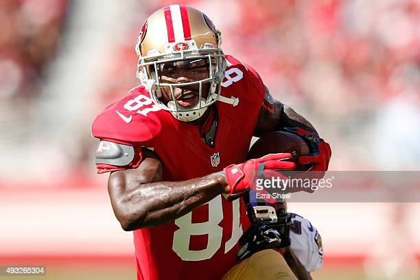 Wide receiver Anquan Boldin of the San Francisco 49ers runs with the ball after a catch against the Baltimore Ravens during their NFL game at Levi's...