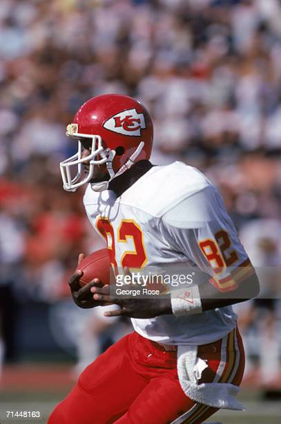 Wide receiver Anthony Hancock of the Kansas City Chiefs runs with the ball during a game against the Los Angeles Raiders at Los Angeles Memorial...