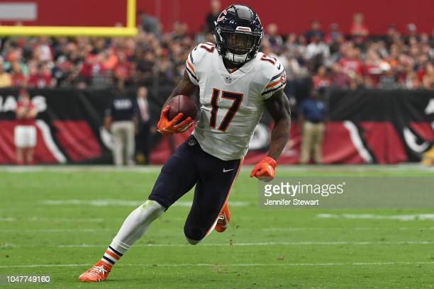 Wide receiver Anthony Miller of the Chicago Bears carries the ball in the NFL game against the Arizona Cardinals at State Farm Stadium on September...