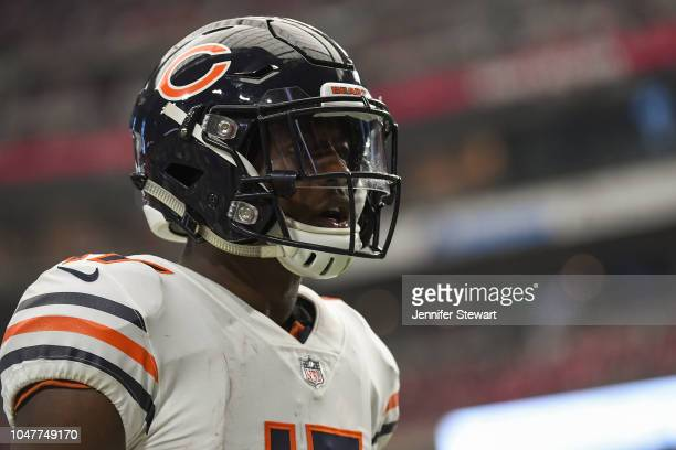 Wide receiver Anthony Miller of the Chicago Bears reacts on the field in the NFL game against the Arizona Cardinals at State Farm Stadium on...