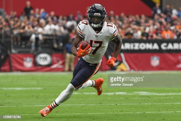 Wide receiver Anthony Miller of the Chicago Bears runs with the football in the first half of the NFL game against the Arizona Cardinals at State...
