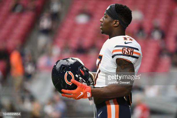 Wide receiver Anthony Miller of the Chicago Bears warms up for the NFL game against the Arizona Cardinals at State Farm Stadium on September 23 2018...