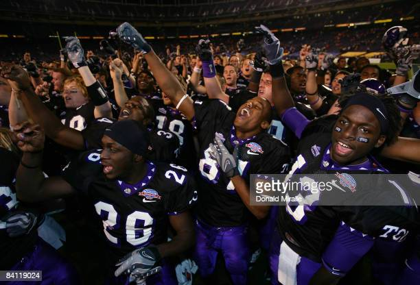 Wide Receiver Antoine Hicks of the TCU Horned Frogs and the rest of his teammates celebrate their 1716 win over Boise State Broncos during the San...