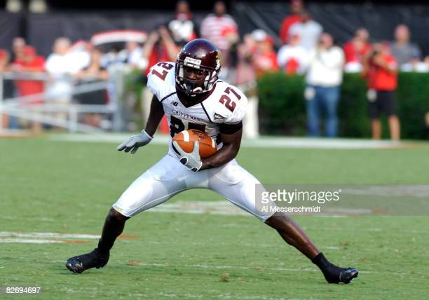 Wide receiver Antonio Brown of the Central Michigan Chippewas rushes upfield with a pass against the Georgia Bulldogs at Sanford Stadium on September...