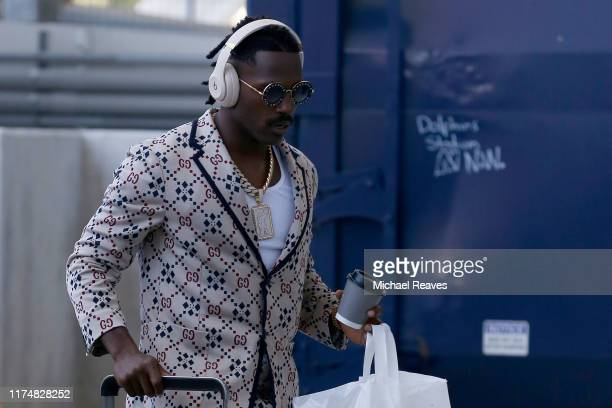 Wide Receiver Antonio Brown of the New England Patriots arrives for the game against the Miami Dolphins at Hard Rock Stadium on September 15 2019 in...