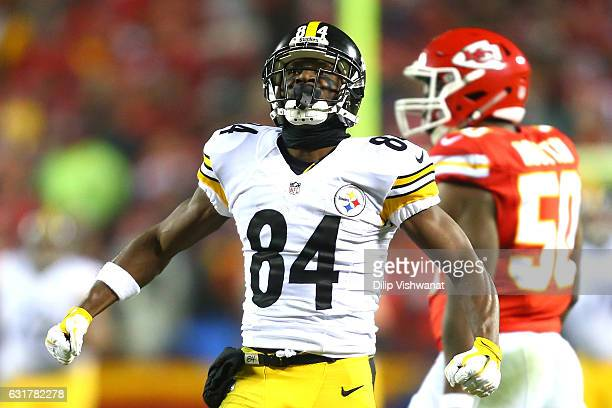 Wide receiver Antonio Brown of the Pittsburgh Steelers celebrates after a catch against the Kansas City Chiefs during the second quarter in the AFC...