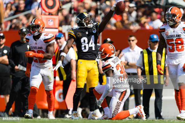 Wide receiver Antonio Brown of the Pittsburgh Steelers celebrates after a first down against the Cleveland Browns during the second half at...