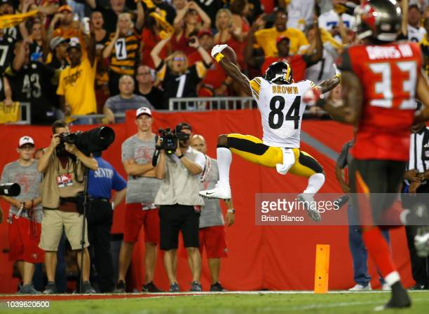 Wide receiver Antonio Brown of the Pittsburgh Steelers celebrates his 27 yard touchdown during the second quarter of a game against the Tampa Bay...