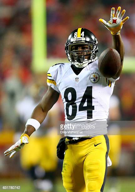 Wide receiver Antonio Brown of the Pittsburgh Steelers reacts against the Kansas City Chiefs during the first half in the AFC Divisional Playoff game...