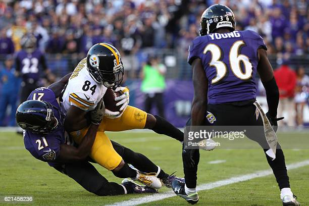 Wide receiver Antonio Brown of the Pittsburgh Steelers scores a fourth quarter touchdown against free safety Lardarius Webb and cornerback Tavon...