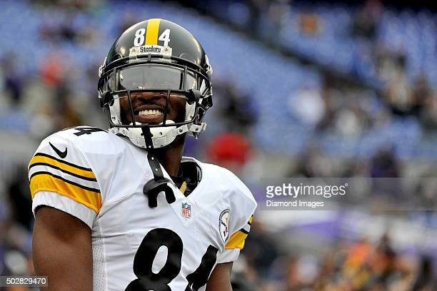 Wide receiver Antonio Brown of the Pittsburgh Steelers smiles at fans prior to a game against the Baltimore Ravens on December 27 2015 at MT Bank...