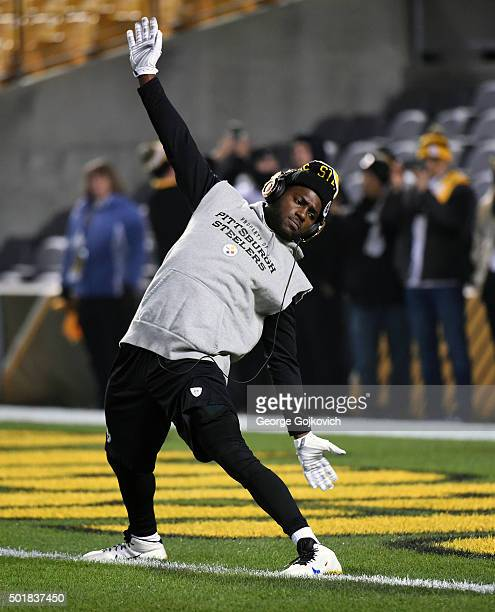 Wide receiver Antonio Brown of the Pittsburgh Steelers stretches during pregame warmup prior to a game against the Indianapolis Colts at Heinz Field...
