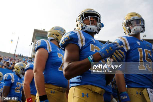 Wide receiver Antonio Brown of the UCLA Bruins waits with teammates to take the field during the first half of a football game at Rose Bowl on...