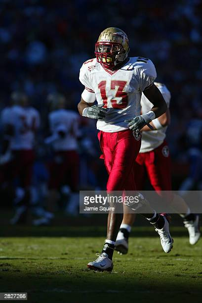 Wide receiver Antonio Cromartie of the Florida State Seminoles runs on the field during the game against the Florida Gators on November 29 2003 at...