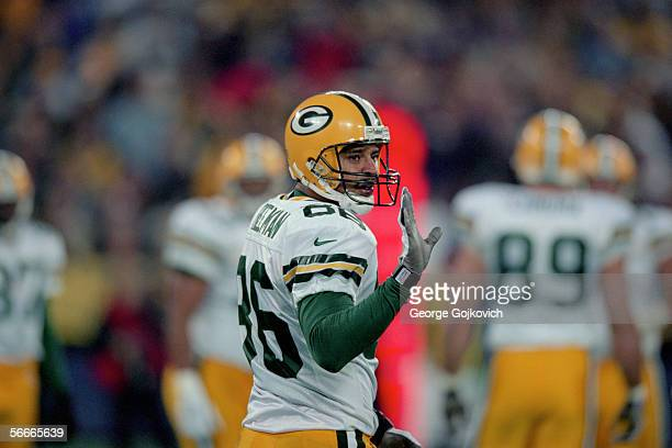 Wide receiver Antonio Freeman of the Green Bay Packers gestures to the sideline during a game against the Pittsburgh Steelers at Three Rivers Stadium...