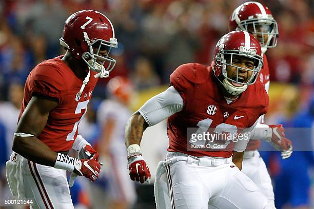 Wide receiver ArDarius Stewart of the Alabama Crimson Tide celebrates after scoring a third quarter touchdown against the Florida Gators during the...
