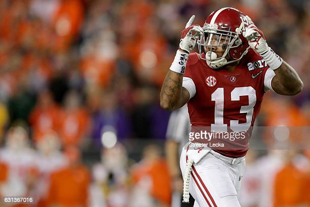 Wide receiver ArDarius Stewart of the Alabama Crimson Tide gestures during the second half of the 2017 College Football Playoff National Championship...